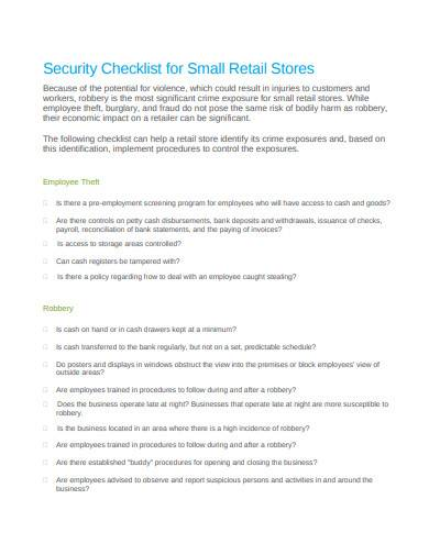 security checklist for small retail stores