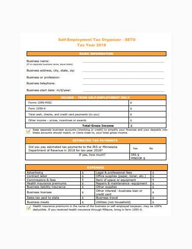 self employment tax organiser template