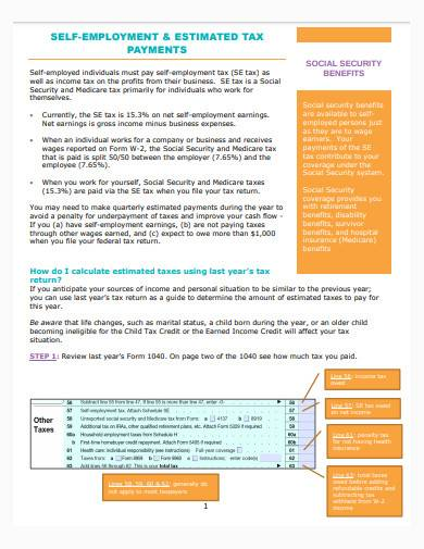 self employment and estimated tax sample
