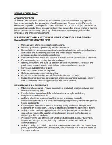 senior consultant job description