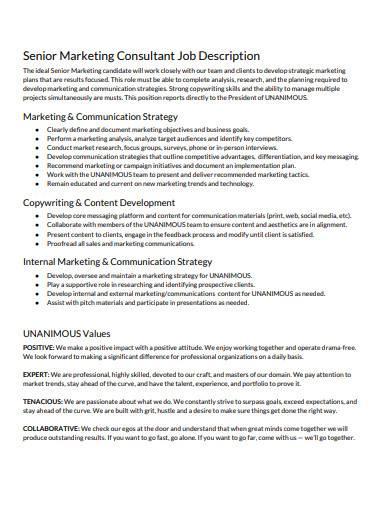 senior marketing consultant job description
