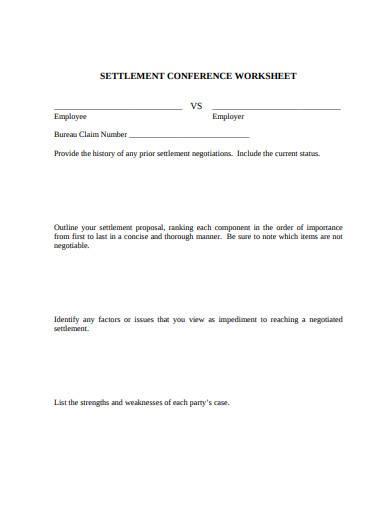 settlement conference worksheet
