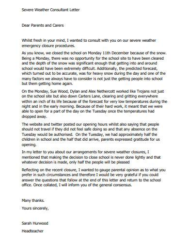 severe weather consultant letter