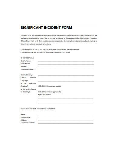 significant incident form template