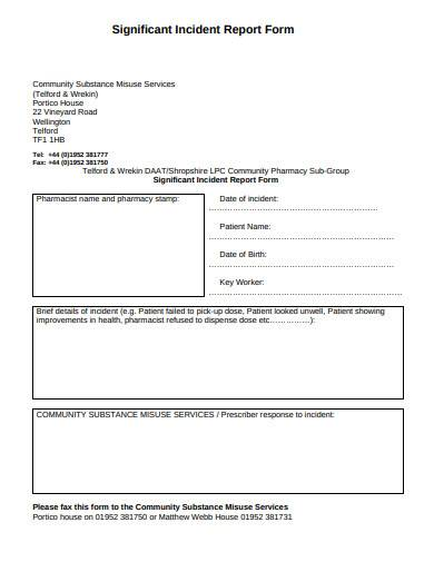 significant incident report form sample