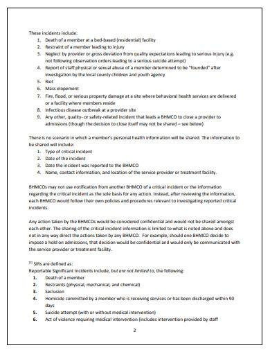 significant incident report sample