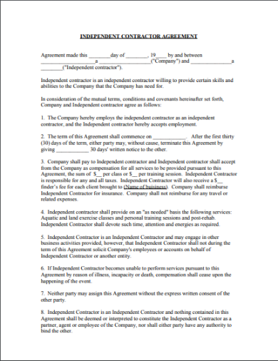 simple agreement contractor agreement template