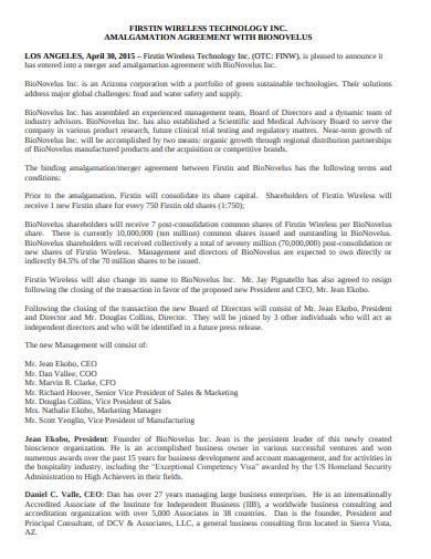 simple amalgamation agreement sample in pdf