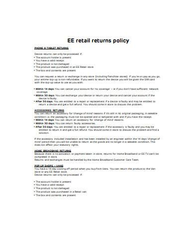 simple retail returns policy template