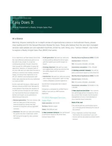 simple sales plan in pdf