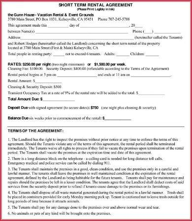 simple short term rental agreement sample