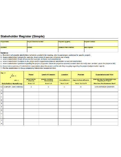 simple stakeholder register