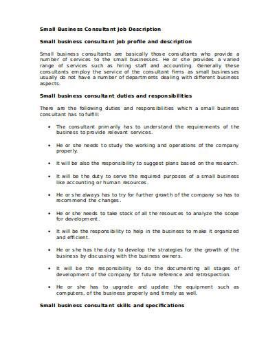 small business consultant job description