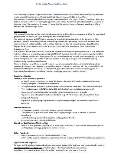 social impact assessment consultant