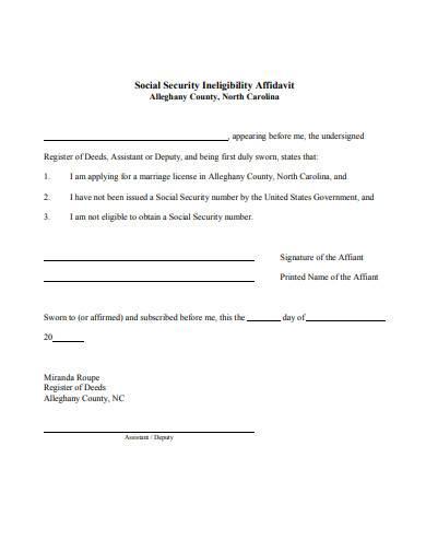 social security ineligibility affidavit