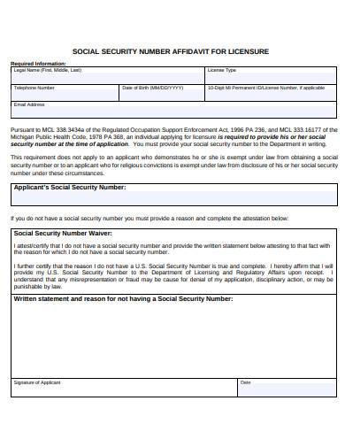 social security number affidavit for licensure