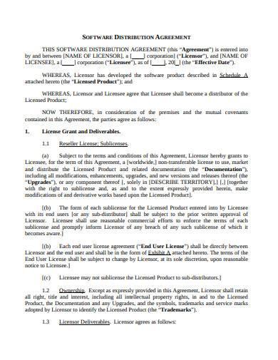 software distribution agreement sample