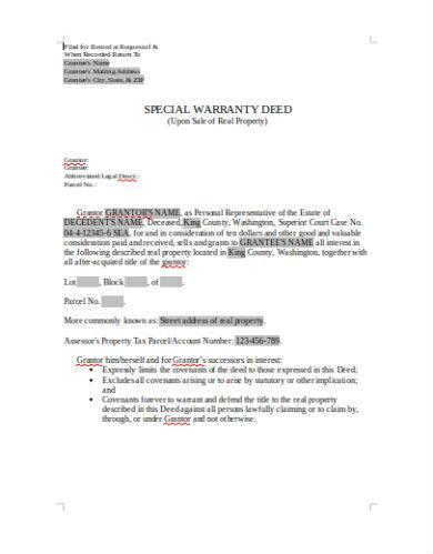 special warranty deed sample in doc