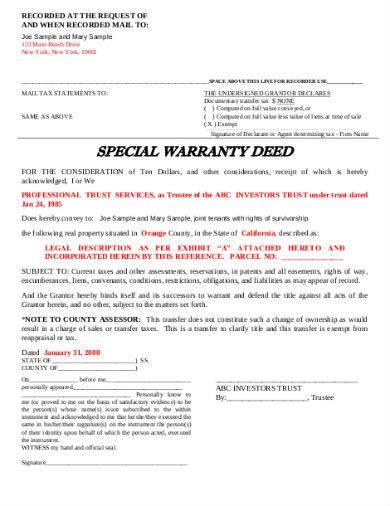 special warranty deed sample in pdf