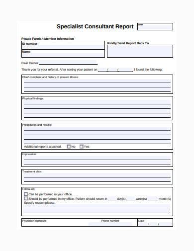 specialist consultant report template
