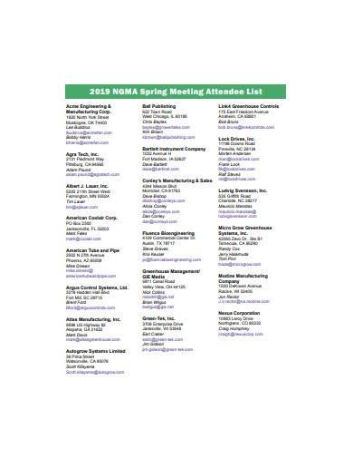 spring meeting attendee list template