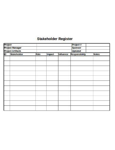 stakeholder register in excel