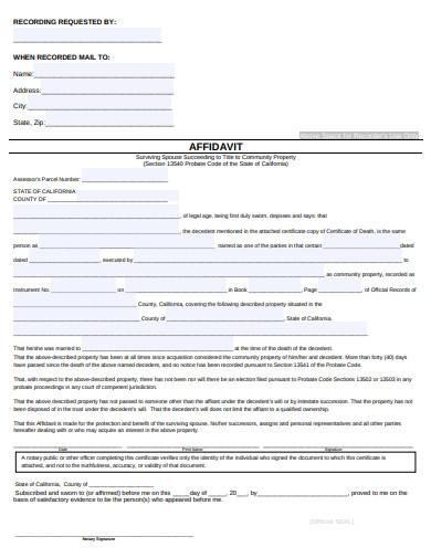 standard affidavit of surviving spouse