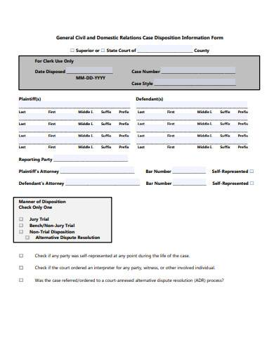 standard defendant information form example