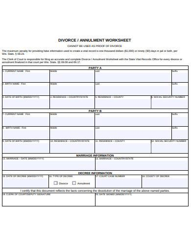 standard divorce worksheet