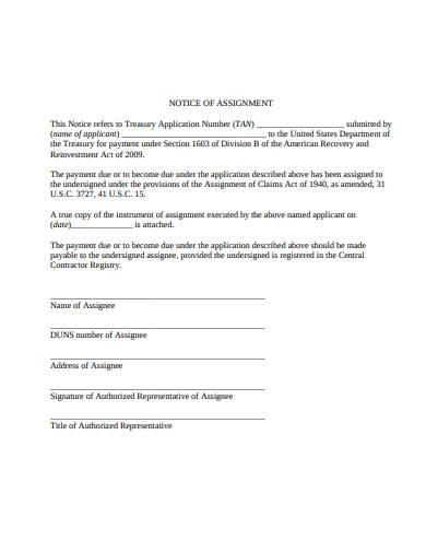 standard notice of assignment
