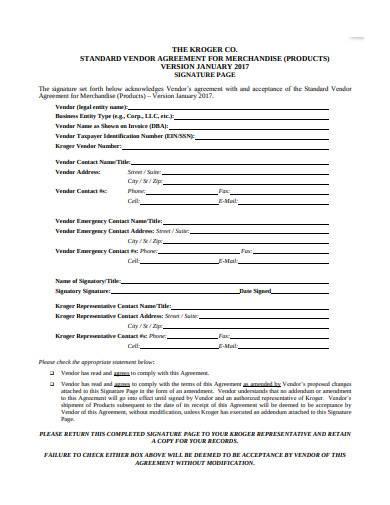 standard retail vendor agreement example
