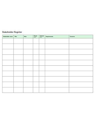 standard stakeholder register