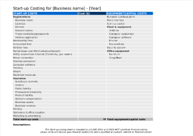 startup costing template