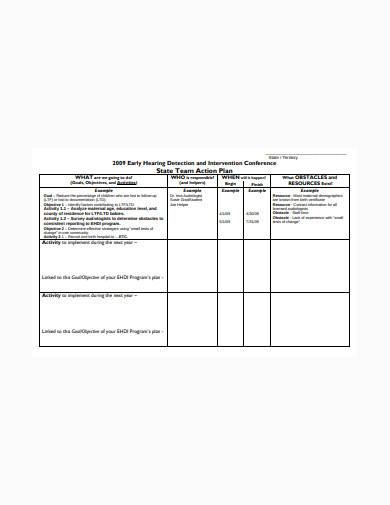 state team action plan sample