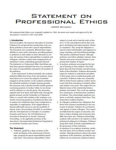 statement on professional ethics