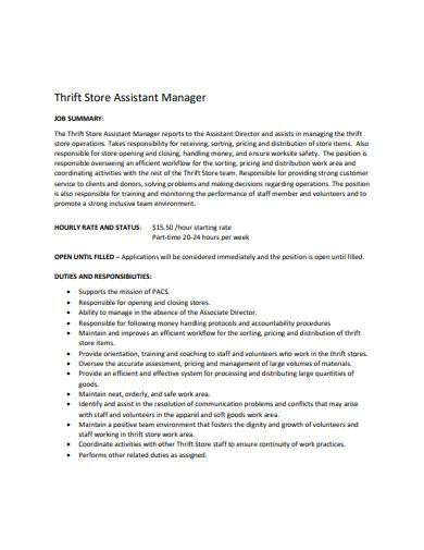 store assistant manager template