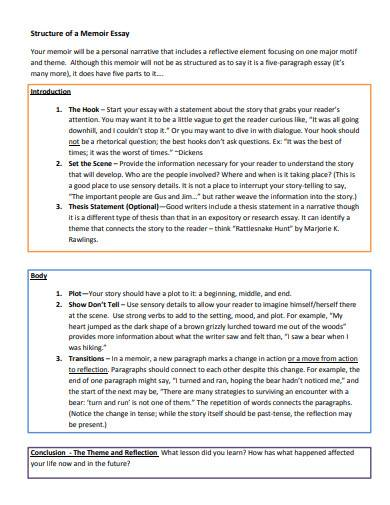 structure of a memoir essay in pdf