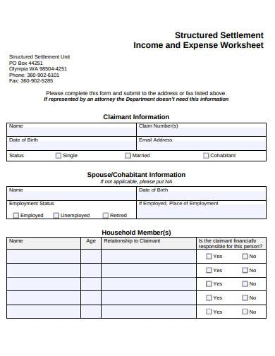 structured settlement income and expense worksheet