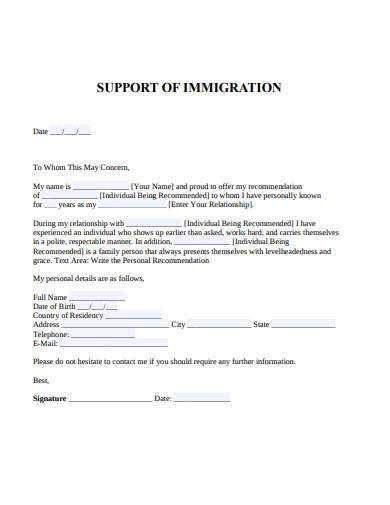 support of immigration