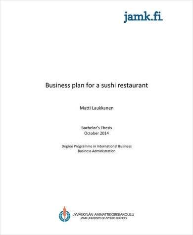 sushi restaurant business plan proposal sample