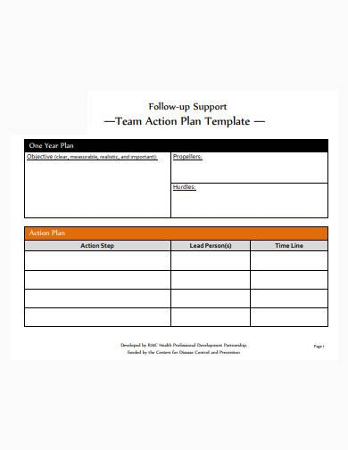 team action plan template