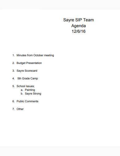 team agenda sample