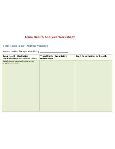 team health analysis worksheet