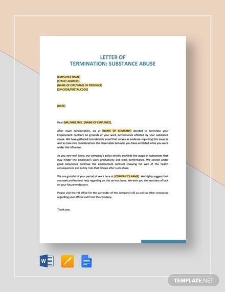 termination letter substance abuse template