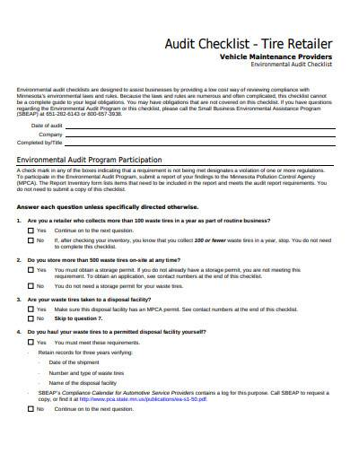tire retailer audit checklist