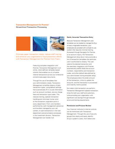 transaction management for premier sample
