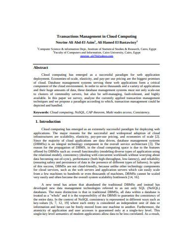 transactions management in cloud computing template