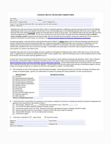 transcript order form sample