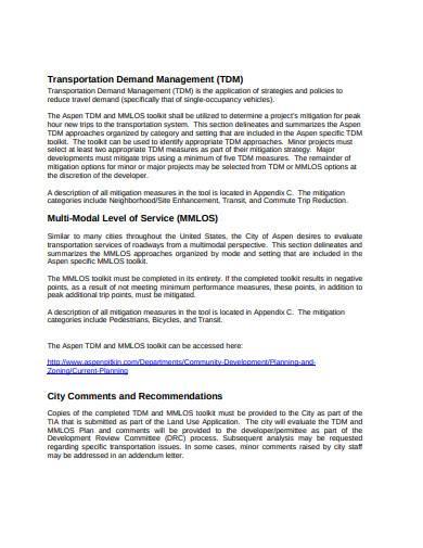 transportation impact analysis template