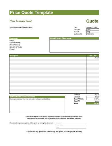 travel price quote template